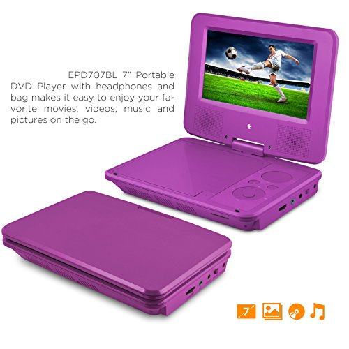 "Ematic EPD707 Portable DVD Player - 7"" Display - 480 x 234 -"