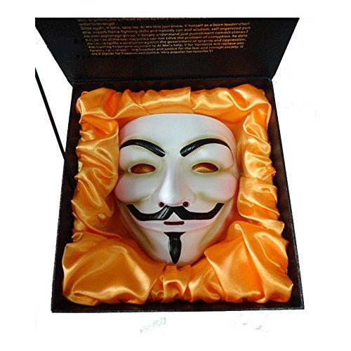 Luxury Gift Box + Resin V FOR VENDETTA Anonymous Guy Fawkes Halloween Party Mask White (V For Vendetta Masks)