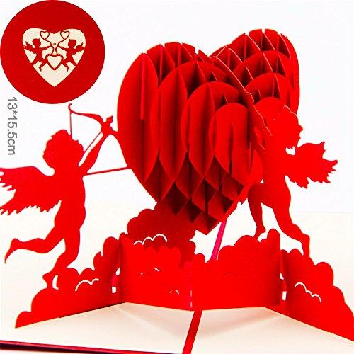 Paper Spiritz Cupid's heart 3D Pop up Greeting Card Best Wishes Thank (3d Card Heart)