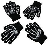 N'Ice Caps Boys Magic Stretch Glove 2 Pair Pack Assortment (6-12yrs, Grey Skeleton/Black Grey)