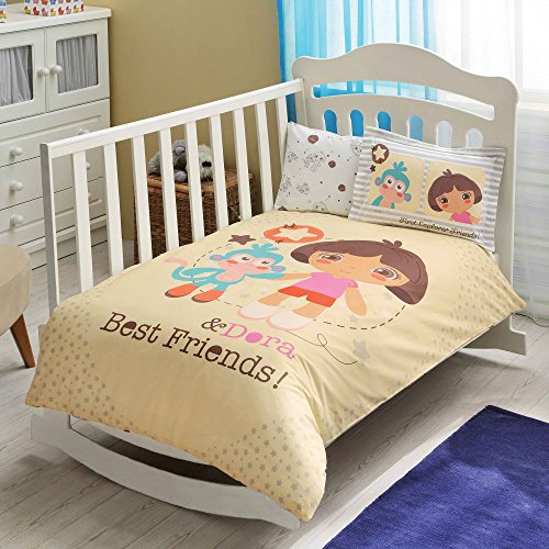 100% Organic Cotton Soft and Healthy Baby Crib Bed Duvet Cover Set 4 Pieces, Dora Best Friends Baby Bedding Set by TAC