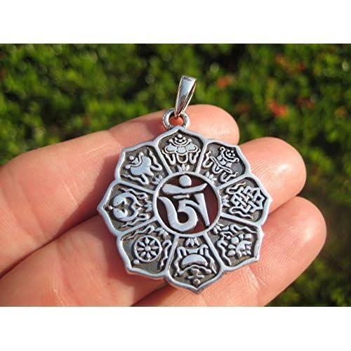 ef9cbfbb722b Collar con colgante de plata de ley 925 con símbolos espirituales de ...