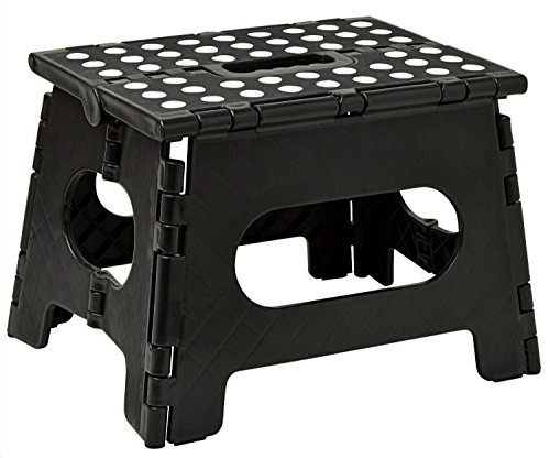 Folding Step Stool - The Lightweight Step Stool is Sturdy Enough to Support Adults and Safe Enough for Kids. Opens Easy with One Flip. Great for Kitchen, Bathroom, Bedroom, Kids ()