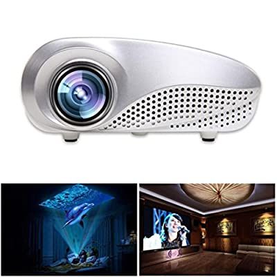 Projector, Lary intel LED Video Projector Home Projector with Free HDMI Support 1080P for Home Cinema Theater AV TV VGA USB HDMI Laptop Game SD iPad iPhone Android Smartphone-White