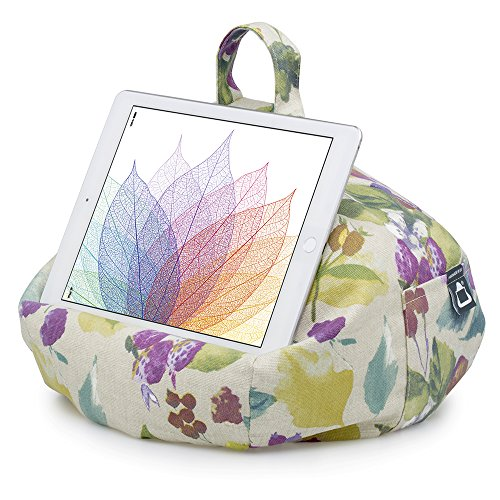 iBeani Tablet Stand/Beanbag Cushion Holder, Compatible with all iPads, Tablets & eReaders. Comfort at Any Angle - Floral Plum