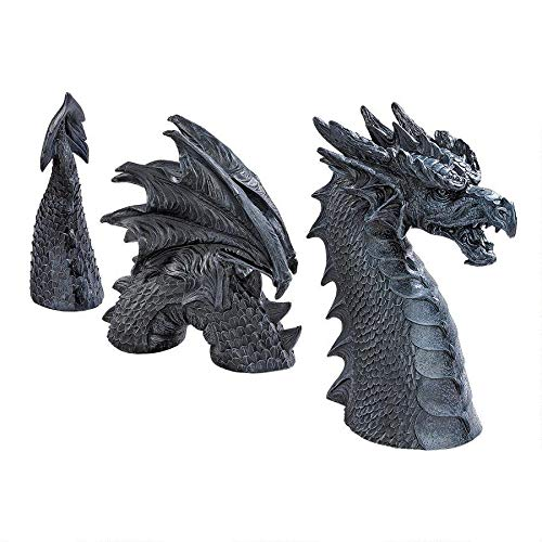 Design Toscano The Dragon of Falkenberg Castle Moat Lawn Garden Statue, 28 Inch Total, Polyresin, Grey Stone (Dragon Sleeping Garden Ornament)