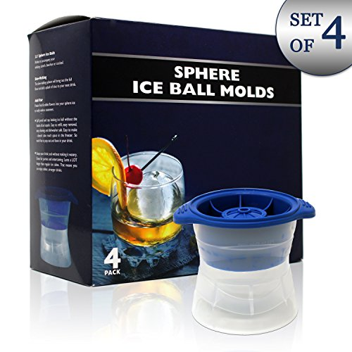 Ice Ball Molds - Pack of 4 – BlueWiz Sphere Silicone Round Ice Cubes for Whiskey, Cocktails and Frozen Desserts – 100% BPA Free, Food Grade, Dishwasher Safe - 2.5-inch Spheres of Ices Rounds (Mold Sphere Ice)
