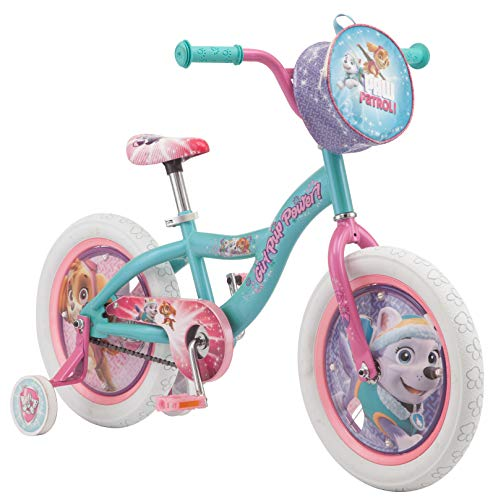 - Nickelodeon Paw Patrol Bicycle for Kids, Featuring Skye and Everest on a Teal Steel Frame, Includes Training Wheels, 16-Inch Wheels