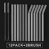 HeykirHome 12-Pack Reusable Glass Straw,Size 8''x10