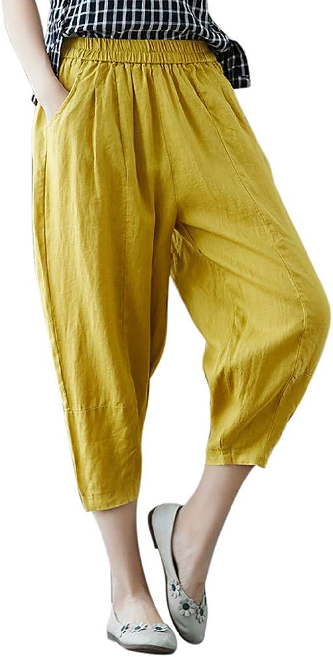 cinnamou Pantalones Mujer, Casual Pantalones Lino Ancho Color ...