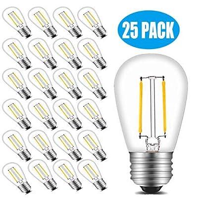 FadimiKoo S14 LED Bulbs 2W 2700K Warm White E26 Base Edison Outdoor String Light Bulb 25 Pack