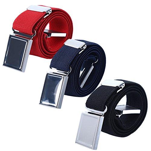 AWAYTR Kids Magnetic Belts for Boys - 3 Pcs Adjustable Elastic Toddler Belt (Red/Navy blue/Black) (Kids Belts)
