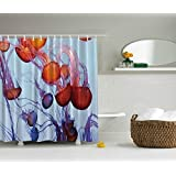 Abstract Jellyfish Art Ocean Love Contemporary Artwork Sea Life Water Drop Dreamy Tropical Beach Modern Bathroom Decoration Shower Curtains, Orange Purple Blue