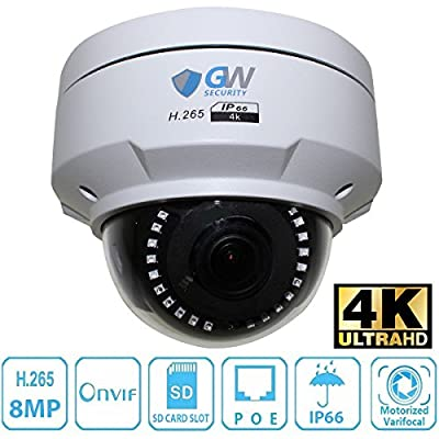 GW Security 8 Megapixel 4K (3840x2160 @30fps Real-time) 3.6X Optical Motorized Zoom Outdoor Indoor IK10 Vandalproof Sony Starvis Onvif H.265 8MP Dome PoE IP Camera, Audio&Alarm port,145FT Night Vision