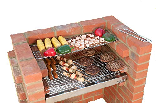 (Black Knight 501 Brick Built in Stainless Steel BBQ Grill Kit with Warming Rack)