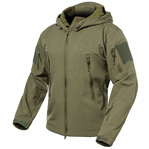 - Echo Paths Men's Soft Shell Tactical Jacket Waterproof Hooded Outdoor Coat Army Green XL