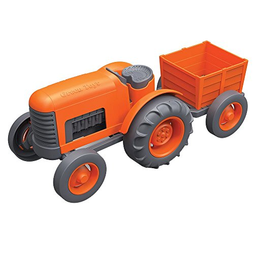 Green Toys Tractor Vehicle, Orange (Plastic Tractor)