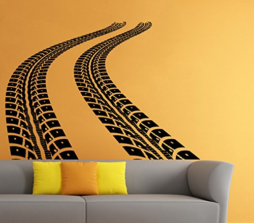Car Traces Wall Vinyl Decal Tire Tracks Sticker Art Mural Home Removable Decor - Track International Usps