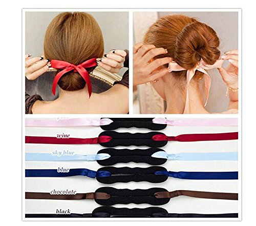 4Pcs Ribbon Magic French Twist Hairband Turban Bun Maker Holder Updo Chignon Former Pads Donut Roll Rings Foam Sponge Clip Hair Styler Curler Braid Ponytail Hairstyle Styling Tool (Random color) (French Roll)