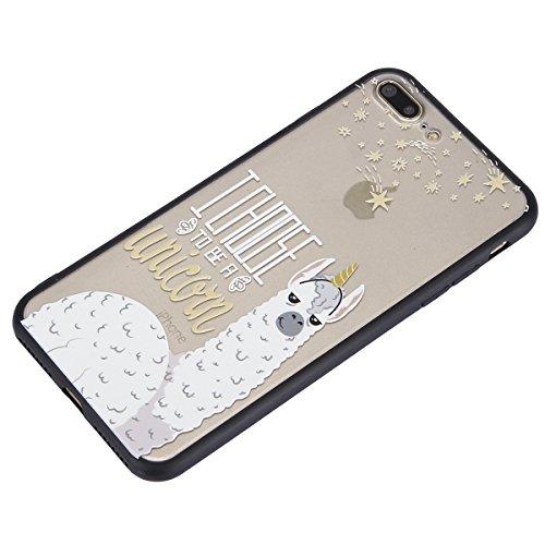 Carcasa para Apple iPhone 7 Plus, Funda para Apple iPhone 8 Plus,Surakey Suave Carcasa Caso Parachoques Diseño pintado Patrón (Pluma /Panda/Gato/Mandala/Flor de encaje/Bosque/Alpaca)para Apple iPhone  Alpaca