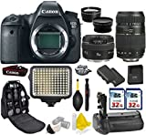 Canon EOS 6D DSLR Camera + Canon 50mm f/1.4 USM + Tamron 70-300mm + Kit Includes Deluxe Camera Backpack+ 2Pcs 32GB Commander MemoryCard + Battery Grip + Extra Battery