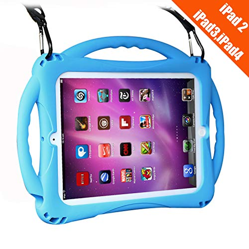 TopEsct iPad 2 Case for Kids, Shockproof Silicone Handle Stand Case Cover&(Tempered Glass Screen Protector) for Apple iPad 2nd Generation,iPad 3rd Generation,iPad 4th Generation -