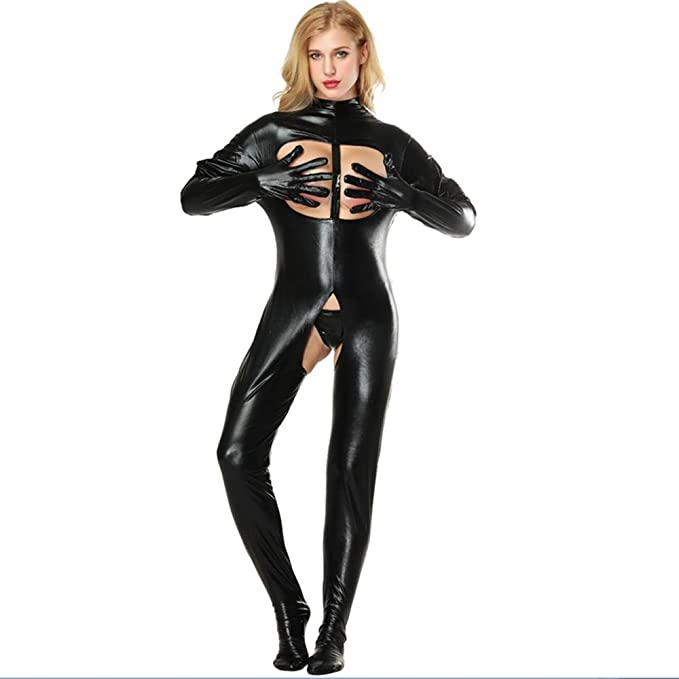 Cosy-L Mujer Conjunto lencería Ropa Interior De Patente Bodycon Mini Vestido Club De Noche