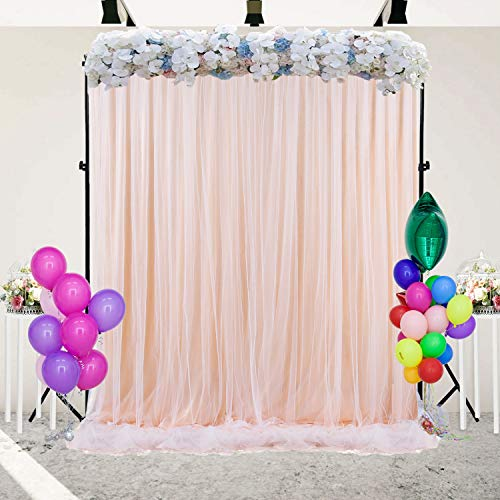 Champagne Backdrop Curtain for Paries Baby Shower Wedding Birthday Party Home Decorations 5 ft X 7 ft ()