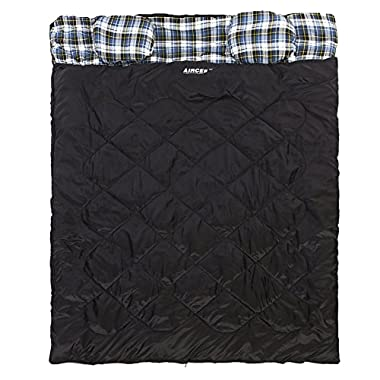 Aircee 15 Degree F Double 2 Person Queen Size Flannel Liner Rectangular Sleeping Bag With Pillows (Black)