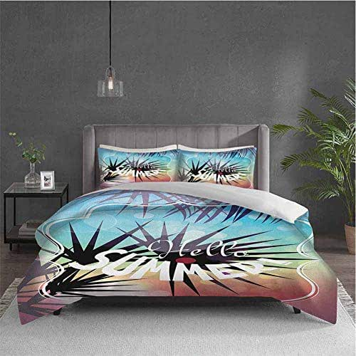Dolores Edmund Hello Summer Extra Large Quilt Cover Tropical Themed Illustration with Palm Tree Silhouettes and Bokeh Effect Spots Can be Used as a Quilt Cover-Lightweight (Queen) Multicolor