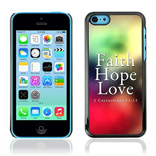 DREAMCASE Citation de Bible Coque de Protection Image Rigide Etui solide Housse T¨¦l¨¦phone Case Pour APPLE IPHONE 5C - CORINTHIANS 13:13 - FAITH LOVE HOPE
