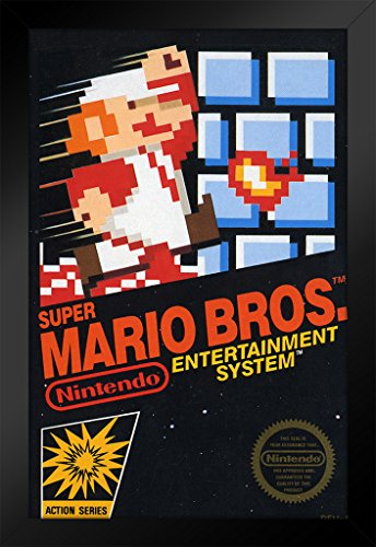 r Mario Brothers Game Box Video Gaming Framed Poster 14x20 inch ()