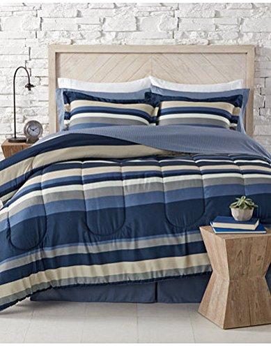 Blue, White, Khaki & Gray Teen Boys Nautical Stripe Queen Comforter Set (8 Piece Bed In A Bag) + HOMEMADE WAX - Nautical Queen Set Comforter