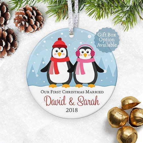 Our 1st Christmas Married Ornament 2019, Personalized Names Date, First Xmas Married Congratulations Idea - 3