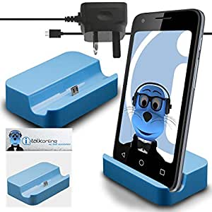 iTALKonline ZTE Blade v7Lite Micro USB Sync & Charge/carga Dock Soporte Cargador de Escritorio con 3Pin Uk 1000mAh aprobadas por la CE Micro USB cargador de red