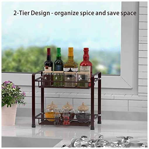 Kitchen Spice Rack and Metal Wire Basket, GSlife 2-Tier Spice Shelf for Counter Spice Seasoning Organizer for Kitchen and… spice racks