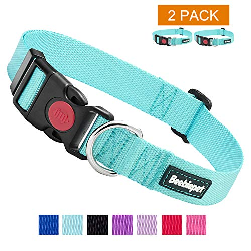 beebiepet 2 Packs Classic Dog Collar with Quick Release Buckle Adjustable Dog Collars for Small Medium Large Dogs (L Neck 17