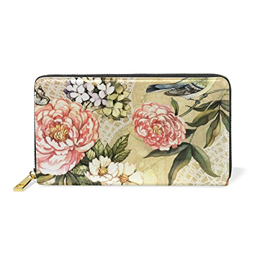 Zip Purses Floral Around Clutch Organizer Watercolor Womens Vintage And TIZORAX Wallet Handbags xFqHzH
