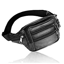 XMCOWAYOU Mens Womens Leather Fanny Pack Waist Bag Pouch Travel Sport Hip Purse