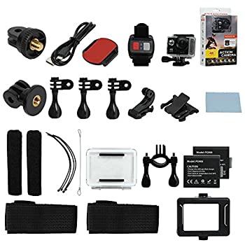 Hiearcool H9 Action Camera 4k Ultra Hd 12mp Wifi Sport Cam Waterproof Underwater 30m, Dual 2inch Lcd Display, 170° Wide Angle Lens - 25 Accessories Kits 5