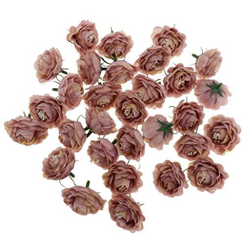 BROSCO 30Pcs/lot 4cm Artificial Camellia Rose Bud Silk Flower Head for Wedding Home | Color - Light Coffee