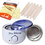 500ML Portable Electric Hair Removal Hot Wax Warmer+10.58 OZ Hair Removal Hard Wax Beans +10PCS Wax Applicator Sticks