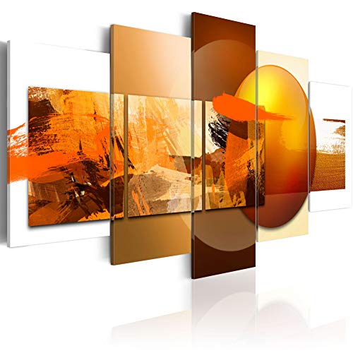 Canvas Prints Art Modern 5 Pieces Wall Picture Abstract Sphere Pros and Cons Painting Orange Artwork Framed Home Decoration Bedroom Living Room (CL14, Large W60
