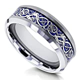 8mm Celtic Dragon High Polish Comfort Fit Mens Tungsten Carbide Ring - Size 8