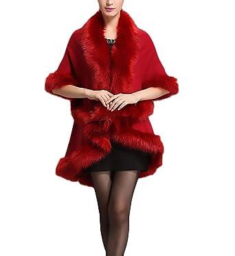 Mujer Abrigos Pelo Invierno Elegantes Vintage Asimétrica Moda De Coctel Parka Más Grueso Termico Piel Sintetica Color Sólido Alta Calidad Ponchos Outerwear ...