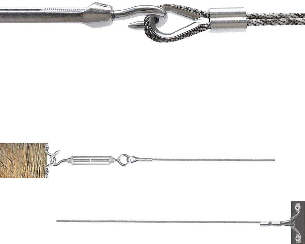 boucle /à sertir en aluminium avec vis pour c/âble de c/âble m/étallique de 1//16 /à 3//32 d/é /à coudre Acier inoxydable 304 Abimars Tendeur sangle /à /œillet