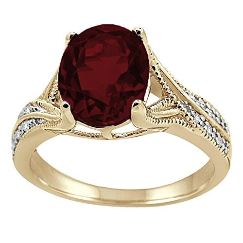 Oval Cut Garnet Ring - Oval Cut Garnet and Diamond Antique Ring in 10K Yellow Gold