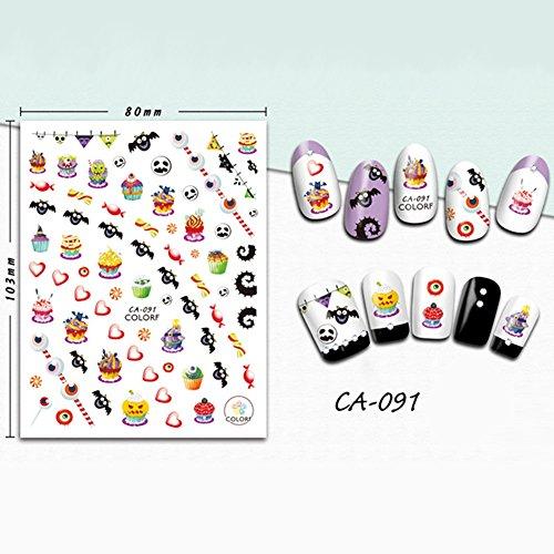 Gracefulvara Manicure Halloween Design Nail Art Stickers Water Transfer Decals