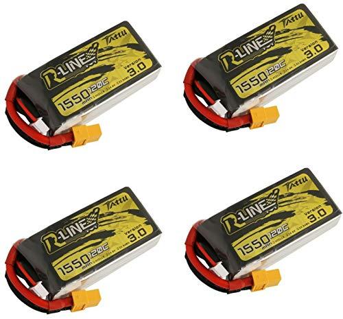 TATTU 4 Pack R-Line v3.0 1550mAh 120C 14.8V Lipo 4S Battery FPV Racing Drone
