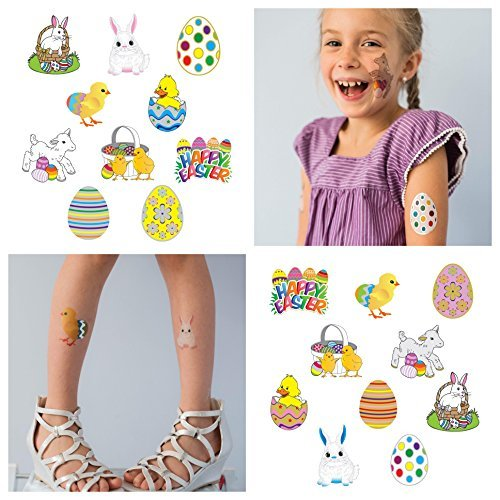20 Easter Temporary Tattoos for Kids | Best For Easter Egg Toys | Easter Decorations | Easter Basket Stuffers and Easter Egg Hunts | Individually Wrapped | Large Metallic Tattoos For Boys and Girls